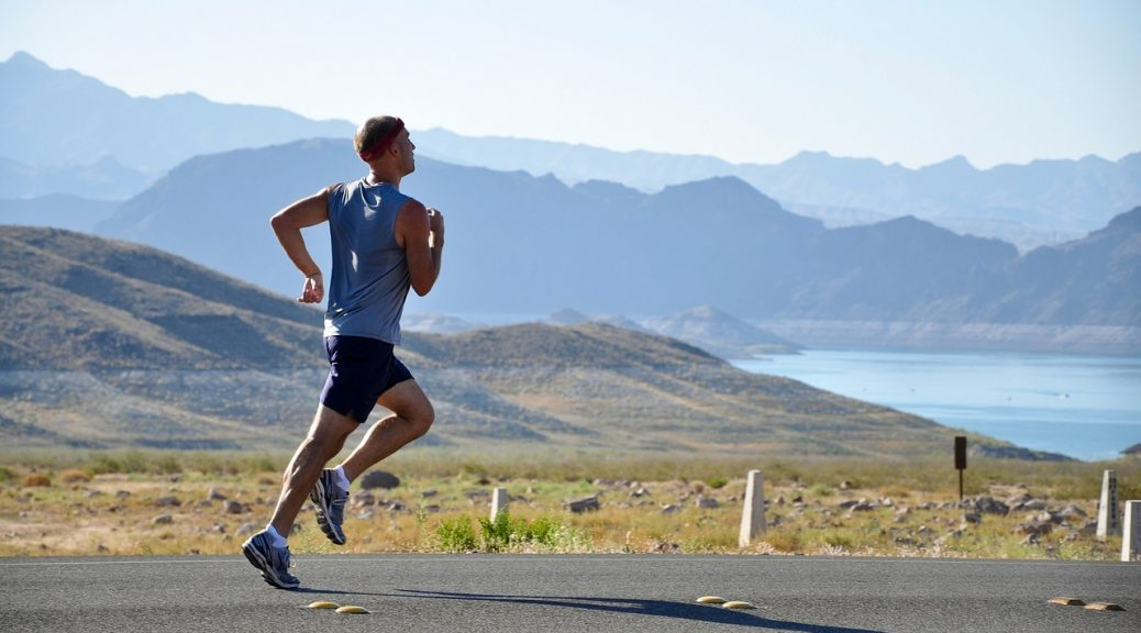 Runner in the desert. Indycore fitness and wellness